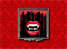 VAMPIRE FANGS BITE ME MOUTH TEETH BLOOD HAND MAKEUP POCKET COMPACT MIRROR