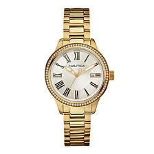 Nautica Women's Gold Tone Case White Roman Numeral Dial Quartz Watch N16661M