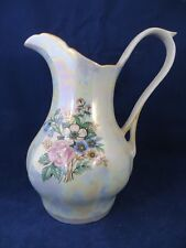 "Iridescent Large Pitcher Porcelain  8 1/2"" tall Beautiful Colors Vtg  EUC"