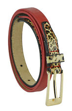 Women's Skinny Leather Belt - Leopard Print - Faux Leather - Gold Plated Buckle