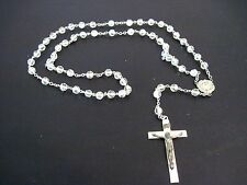 VINTAGE CLEAR CRYSTAL STERLING SILVER ROSARY MIRACULOUS MARY MEDAL