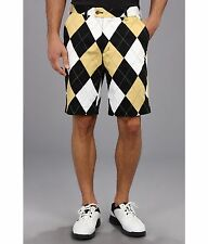 LOUDMOUTH BLACK AND TAN mens GOLF shorts  FLAT FRONT SIZE 30 argyle 2888