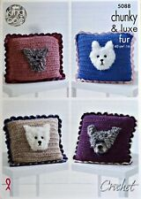 CROCHET PATTERN Frilled Cushion with Dog Motif Chunky & Luxe Fur King Cole 5088