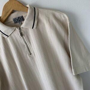 Vintage Retro 1/4 Zip Polo Top T-Shirt Size S Oversize Cream Short Sleeve Cotton