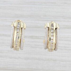 0.80ctw Diamond J-Hook Earrings 14k White Yellow Gold Pierced Omega Backs