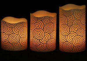 1 Set 3 x Brand New 12 Colours Christmas LED Candle – Melt Edge Pillar Model