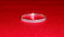 STUNNING 3 ROW RHINESTONE DIAMANTE PINK CRYSTAL ANKLET UK