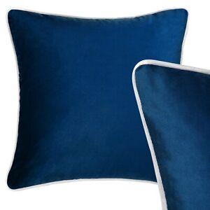 100% Velvet Cushion Navy Blue Grey Piping Sofa Throw Pillow Case Cover 45cm 18in