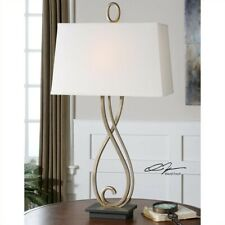 Uttermost Ferndale Scroll Metal Lamp in Antiqued Silver Champagne