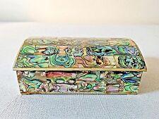 Alpaca Mexico Vintage abalone Inlaid silver-plated dresser jewelry trinket box