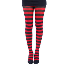Striped Opaque Tights Black Red Rockabilly Punk Gothic Stripes Costume 80s Retro