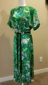 RESERVED FOR JILL Vintage 1940s Geometric Print Dress  40s Green and Pink Silk Crepe  Draped with Bows