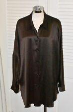 Marina Rinaldi 100% Silk Rich Chocolate Brown Long Blouse Tunic 14W 23 IT