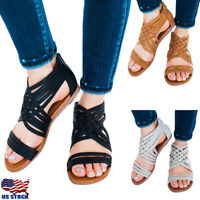 US Women Casual Flats Sandles Zip Back Gladiator Sandals Summer Beach Shoes Size