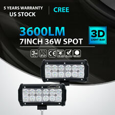 2x 7inch 36W LED Light Bar Spot Offroad Fit For Jeep Ford Truck Driving 4WD 6""