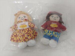 "(2) 2001 Plush Beanie 8"" Campbells Alphabet Soup Girl Soft Rag Doll w/Sewn Eyes"