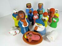 Vintage Nativity Set Mexico Handmade & Painted Christmas Mexican Folk Art A7974