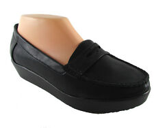 NEW Black faux leather SLIP ON MOCCASIN LOAFER mini wedge JOB WORK Shoes sz 10