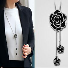Fashion Charm Women Rose Rhinestone Long Sweater Necklace Chain Pendant Jewelry