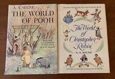 Vntg 2 HCDJ Books 1957 THE WORLD OF POOH / 1958 THE WORLD OF CHRISTOPHER ROBIN