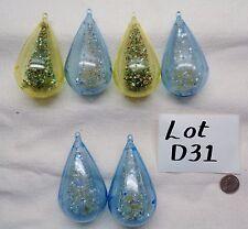 6 Vintage JEWELBRITE TEARDROP BOTTLE BRUSH Christmas Plastic Ornaments LOT D31