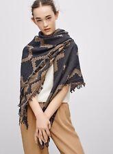 Aritzia Wilfred Diamond Mosaic Wool Blanket Gray Fringe Wrap Scarf