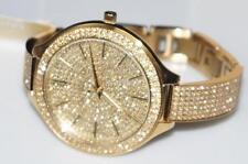 Michael Kors MK3256 Slim Runway Gold Crystal Glitz Pave Crystal Watch + MK BOX