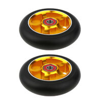 1 Pair Replacement 100mm Stunt Scooter Wheels with Bearing & Bushings, Gold
