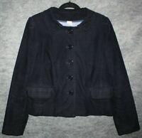 J. Crew Vintage Corduroy Peplum Jacket Blazer Womens 10 Navy Blue Stretch