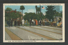 1937 PLAYING SHUFFLEBOARD IN FLORIDA ON THE COURTS AT CLEARWATER FLA POSTCARD
