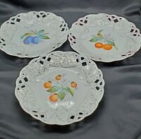 Reticulated Porcelain Wall Display Fruit Dessert Plates Set of 3