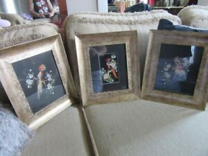 Set of 3 Glenn Bastian signed real feathers Mexican bird art