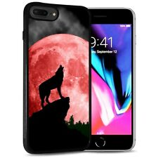 ( For iPhone 7 ) Back Case Cover AJ12524 Red Moon Wolf