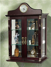 Wall Mount Curio Cabinet w Clock Decorative Glass Display Case for Collectibles