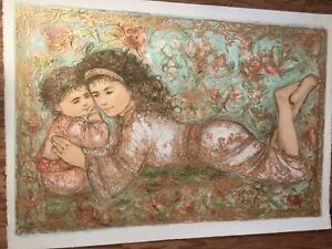 Edna Hibel~My Little BoBo~Original Stone Lithograph~Huge!~40 in wide! Stunning!