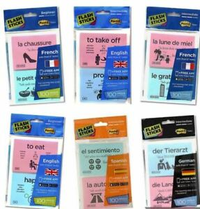 Flash Sticks Post-it Notes English/French/Spanish/German Beginner & Intermediate