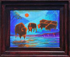 Seven Bison Sunrise Yellowstone framed painting Bertram Poole