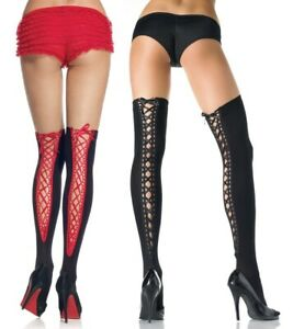 Sexy Black/Red Opaque Thigh High Stockings W/Lace Up Corset Back, Gothic, Fetish