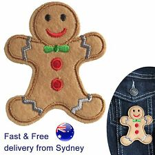 Gingerbread man iron on patch - xmas christmas bake sweet cookie biscuit patches