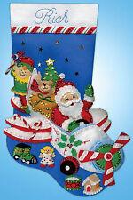 Felt Embroidery Kit ~ Design Works Flying Santa Christmas Stocking #DW5237