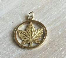 Canadian Maple Leaf Pendant 14 Carat Yellow Gold