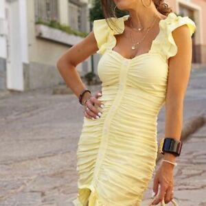 Zara Yellow Mini Dress With Draped Detail Size SMALL BNWT