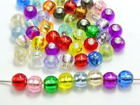 200 Mixed Color Silver Foil Acrylic Round Pony Beads 8X6mm for Kids Craft Kandi