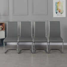 Set of 4 Faux Leather Dining Chairs with High Back Chrome Legs Modern Grey Chair