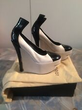 e36c008a89d LOUIS VUITTON Silver Suede   Black Patent Leather Platform Wedges Size ...