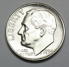 1954-s Roosevelt Dime. 100% Fully Separated Horizontal Bands. Choice BU.  (INV.A