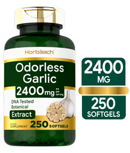 Odorless Garlic Pills 2400 mg | 250 Softgels | Ultra Potent | by Horbaach