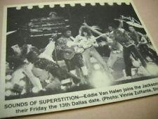 Eddie Van Halen w/ Michael Jackson on stage in Dallas 1984 music biz pic/text
