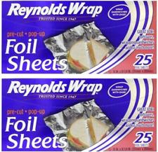 Reynolds Aluminum Foil Sheets 25ct LOT OF 2 PACKS TOTAL OF 50 SHEETS!