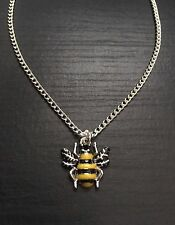 """Silver Tone 18"""" Enamel Bumble Bee Necklace, Wildlife, Great Gift"""